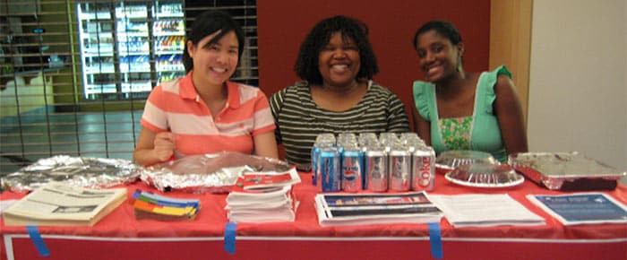 Students at a community event
