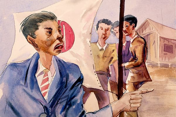 This picture depicts a group of Japanese Americans in the background and another Japanese American in the front with a Japanese flag in the middle